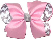 Pink over Gray and White Large Double Layer Bow