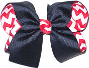 Navy over Red and White Large Double Layer Bow