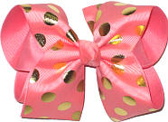 Shell Pink with Metallic Gold Dots over Shell Pink Large Double Layer Bow