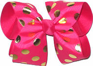 Shocking Pink with Metallic Gold Dots over Shocking Pink Large Double Layer Bow