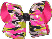 Pink Green Black and White Camo over Shocking Pink Large Double Layer Bow