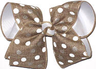 Large White and Brown Dots on Canvas Turftan over White  School Bow
