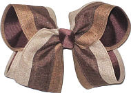Large Oatmeal Turftan and Brown Canvas over Brown School Bow