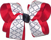 Large Red Navy White School Bow