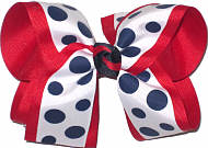 Large White with Navy Dots over Red School Bow