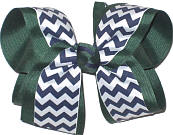 Large Evergreen Navy White School Bow
