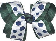 Large With with Navy Dots over Evergreen School Bow