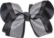 Large Black and White over Black School Bow
