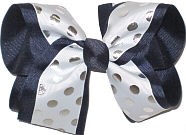 Large With with Silver Dots over Navy School Bow
