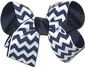 Medium Navy and White School Bow