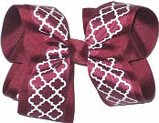 Large Beet and White School Bow