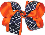 Large Orange Navy and White School Bow