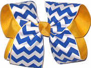 Large Century Blue and White over Yellow Gold School Bow