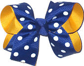Medium Century Blue and White Dot over Yellow Gold School Bow