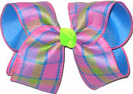 Pink Green Blue over Capri Large Double Layer Bow