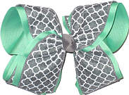 Mint Gray and White MEGA Extra Large Double Layer Bow