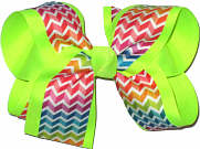 Rainbow over Neon Lime Large Double Layer Bow