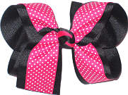 Shocking Pink with White Microdots over Black Large Double Layer Bow