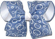 Light denim Canvas with White Bubbles over White Large Double Layer Bow