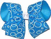 Capri Blue Canvas with White Bubbles over Capri Blue Large Double Layer Bow