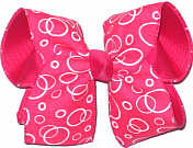 Shocking Pink Canvas with White Bubbles over Shocking Pink Large Double Layer Bow