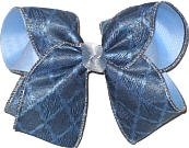 denim Quatrafoil over Millenium Blue Large Double Layer Bow