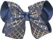 Denim and Gold Quatrfoil over Navy Large Double Layer Bow