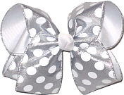 Silver with White Dots over White Large Double Layer Bow