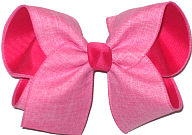 Pink Canvas Ribbon over Shocking Pink Large Double Layer Bow