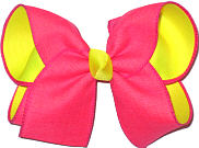 Tutti Fruiti Canvas Ribbon over Neon Yellow Large Double Layer Bow