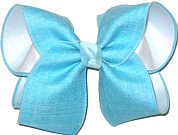 Millenium Blue Canvas Ribbon over White Large Double Layer Bow