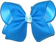 Electric Blue Canvas Ribbon over Mystic Blue Large Double Layer Bow