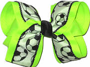 Neon Lime Soccer Large Double Layer Bow