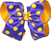 Purple with Yellow Gold Dots over Yellow Gold Grosgrain MEGA Extra Large Double Layer Bow