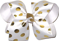 White with Metallic Gold Dots over White Large Double Layer Bow
