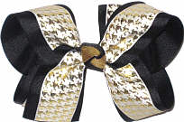 Mettalic Gold Houndstooth on White over Black Large Double Layer Bow