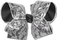 Black with Silver Lace Large Double Layer Bow