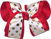 White with Metallic Gold Dots over Red Grosgrain MEGA Extra Large Double Layer Bow