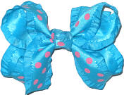 Turquoise and Rose Pink Medium Double Layer Bow