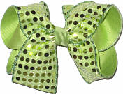 Pistachio Sequins over Pistachio Grosgrain MEGA Extra Large Double Layer Bow