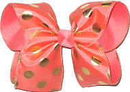 Coral with Gold Dots over Coral Large Double Layer Bow