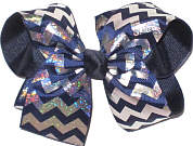 Light Navy with Silver Hologram Stripes over Navy Large Double Layer Bow