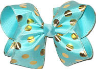 Aqua with Gold Dots MEGA Extra Large Double Layer Bow