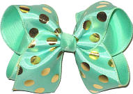 Mint with Gold Dots over Mint Large Double Layer Bow
