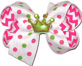 Princess Crown Miniature Medium Double Layer Bow
