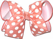 Coral With White Dots over White Large Double Layer Bow