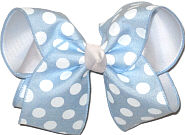 Millenium Blue with White Dots over White Large Double Layer Bow