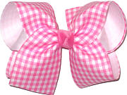 Pink and White over White Large Double Layer Bow