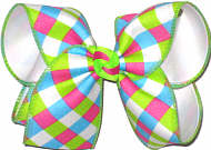 Pink Green Blue White over White Large Double Layer Bow