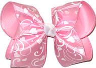 Light Pink wirth White Swirls and Hearts over Ligh Pink Grosgrain MEGA Extra Large Double Layer Bow